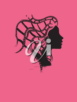 Illustration of a Woman Silhouette with Film Roll as Her Hair
