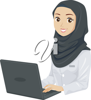 Illustration of a Muslim Teenage Girl Student Using a Laptop Wearing White Lab Gown