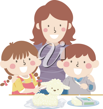 Illustration of Kids and Mother Making Carved Butter Lamb for Easter
