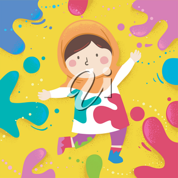 Illustration of a Muslim Kid Girl and Playing with Color Splats Around