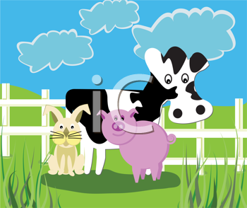 Royalty Free Clipart Image of a Cow, Pig and Rabbit