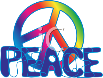 Royalty Free Clipart Image of a Peace Symbol With the Word Peace