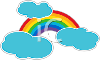 Royalty Free Clipart Image of a Multicoloured Spectrum With Clouds