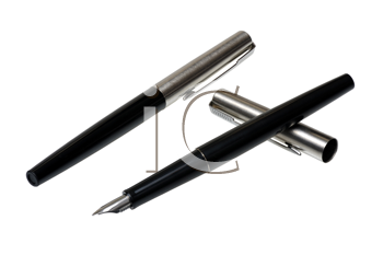 Two pens in black on a white background