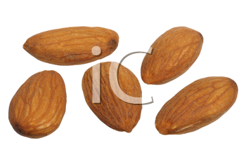 Almonds on white background, close up, isolated