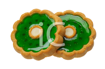 Brown sweet Cookies with green jelly, isolated