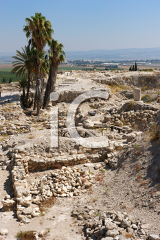 Royalty Free Photo of the Remains of Settlements on a Hill
