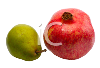 Pomegranate and pear on white background, isolated.