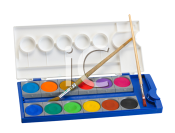 Royalty Free Photo of Watercolours and Brushes