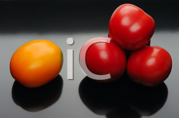 Royalty Free Photo of Red and Yellow Tomatoes on Black