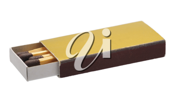 Golden box of matches on the glass surface