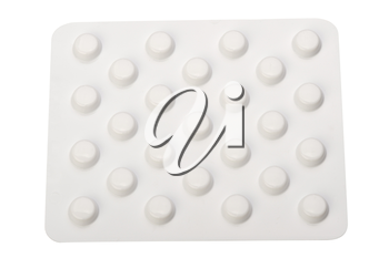 Pills in a blister pack on a white background, isolated