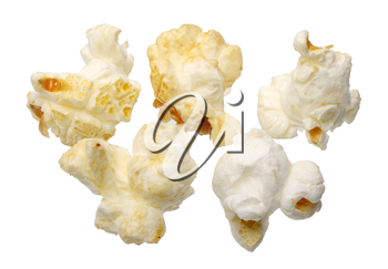 Popcorn on a white background close-up, isolated