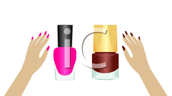 Royalty Free Clipart Image of Hands and Nail Polish