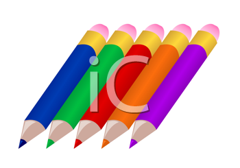 Royalty Free Clipart Image of a Set of Pencil Crayons