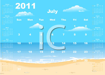 Royalty Free Clipart Image of a 2011 Calendar Template