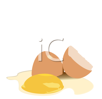 Royalty Free Clipart Image of Broken Eggs