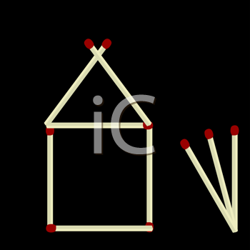 Royalty Free Clipart Image of a House Made of Matchsticks