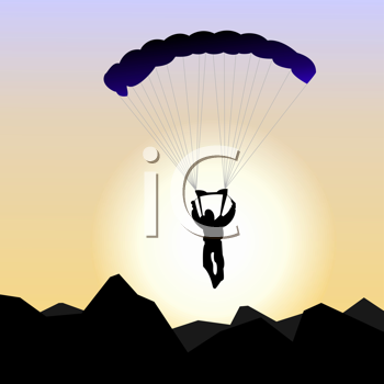 Royalty Free Clipart Image of a Parachutist
