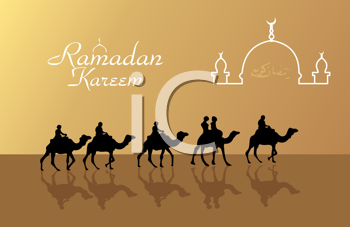Royalty Free Clipart Image of an Islamic Greeting Card Template