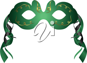 Illustration of realistic carnival or theater mask isolated - vector