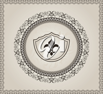 Illustration cute background with heraldic element - vector