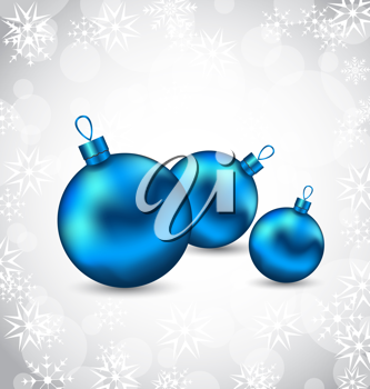 Illustration background with snowflakes and Christmas balls - vector