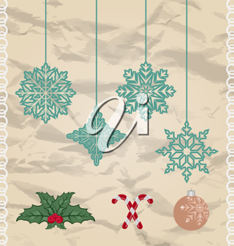 Illustration set Christmas and New Year elements - vector