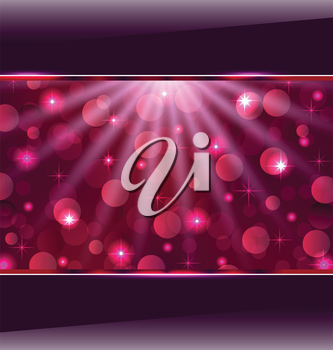 Illustration abstract pink card with bokeh effect - vector