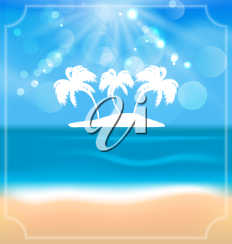 Illustration holiday summer card with beautiful beach and palms - vector