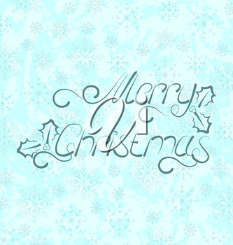 Illustration calligraphic Christmas lettering, snowflakes texture - vector