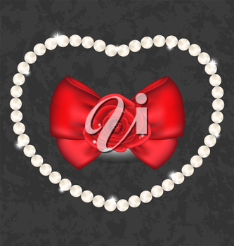Illustration red rose with bow and pearls for Valentine Day - vector