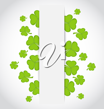 Illustration greeting card with set shamrocks for St. Patrick's Day - vector