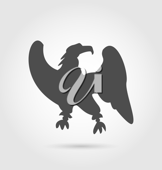 Illustration abstract label of eagle silhouette - vector