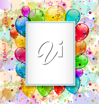 Illustration birthday card with balloons and confetti - vector