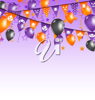 Illustration Halloween background with hanging flags and balloons - vector