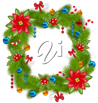 Illustration Christmas frame with traditional elements, place for your text - vector
