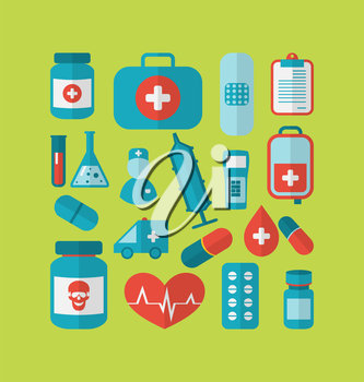 Illustration collection trendy flat medical icons - vector