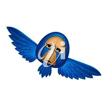 Angry beholder blue bird soars and observe looks down from heaven and maybe give you happiness - vector