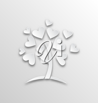 Illustration tree with hearts for Valentines Day, paper cut style - vector
