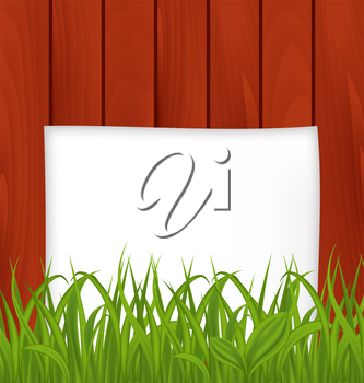 Illustration paper sheet and green grass on wooden texture - vector