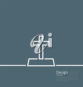 Illustration logo of gravestone in minimal flat style line - vector