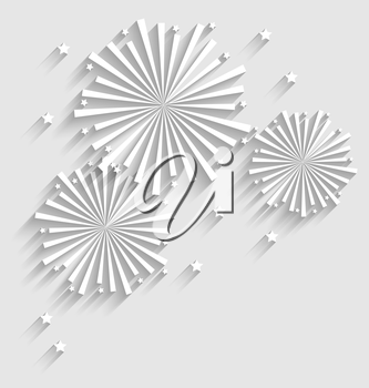 Illustration Firework for Holiday Celebration Events, Flat Style Long Shadow - Vector