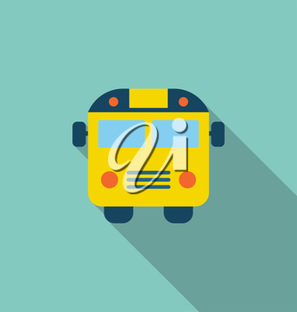 Illustration School Bus Flat Icon with Long Shadow - Vector
