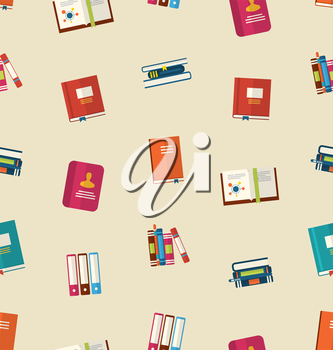 Illustration Seamless Pattern of Colorful TextBooks, Dictionaries, Diaries for Education, Vintage Colorful Flat Icons - Vector
