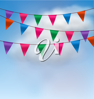 Illustration Multicolored Buntings Flags Garlands in Blue Sky - Vector