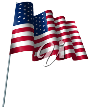 Illustration American Flag Waving Wind, Isolated on White Background - Vector