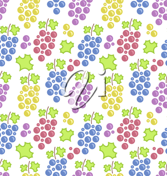 Illustration Seamless Pattern with Colorful Bunches of Grape, Vintage Texture - Vector