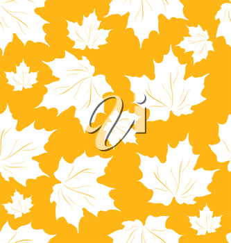 Illustration Seamless Pattern of Maple Leaves, Autumn Texture - Vector