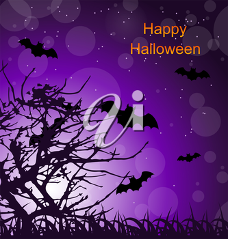 Illustration Halloween Night Background with Bats - Vector